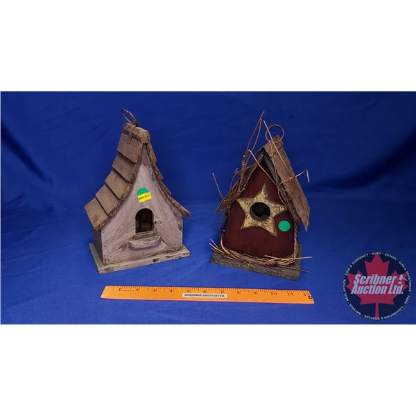 """Bird Houses (2) (Tallest 9""""H) (See Pics!)"""