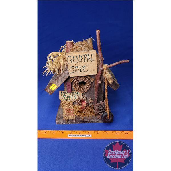 "Birdhouse ""General Store Nesting Supplies"" (10-1/2""H)"