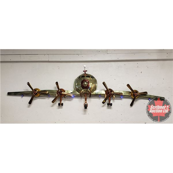 """Home Décor Wall Hanging Vintage Airplane Front (Brass/Light Up) (80"""" Wingspan)"""