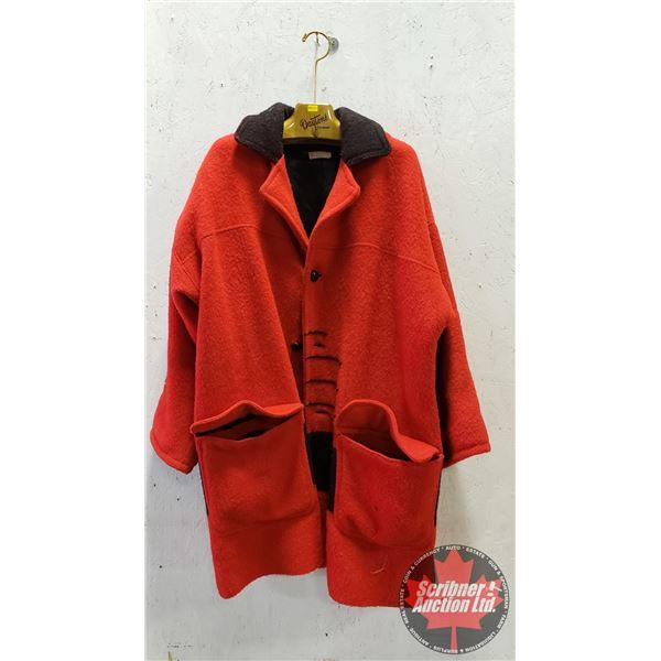 "Red Fleece Coat ""Specially Handmade by Joanne"" out of Possible Hudson's Bay Blanket (3-1/2 Pelt Line"