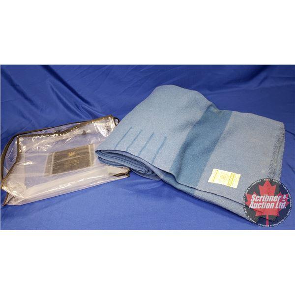 "Blue Hudson's Bay Blanket w/Original Bag (90""H x 72""W)"