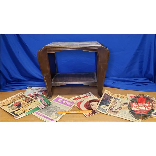 """Magazine Side Table with 7 Vintage Magazines (22""""H x 27""""W x 13-1/4""""D)"""