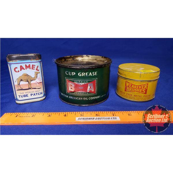 BA Grease Tin, Wearever Brushes Metal Polish Tin & Camel Tube Patch Kit
