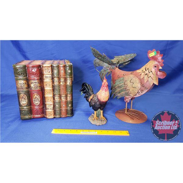Faux Book (Hidden Storage) & Rooster Décor Pieces (2)