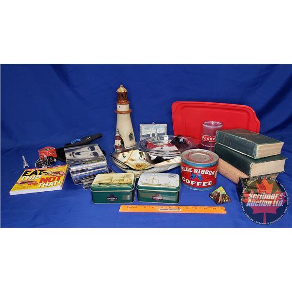 Box Lot: Baking Dishes, CD's, Cookbooks, Gyroscope, Tins, Lighthouse Ornaments, etc) See Pics!