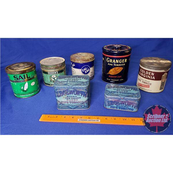 Tray Lot: Tobacco Tins (7) (Incl. Edgeworth, Zig Zag, Ogden's, Granger, etc) See Pics!