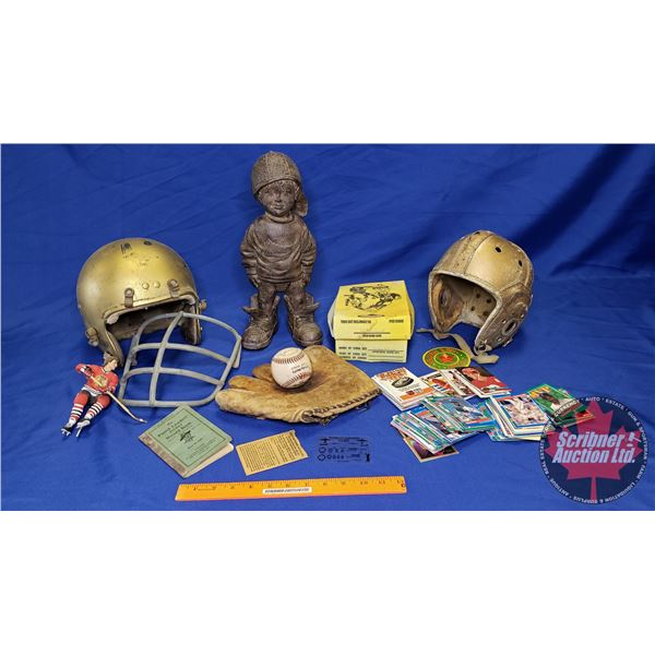Box Lot: Sports Theme (Incl. Helmets, Baseball Glove, Ball, Sports Cards, Little Boy Statue, etc) Se