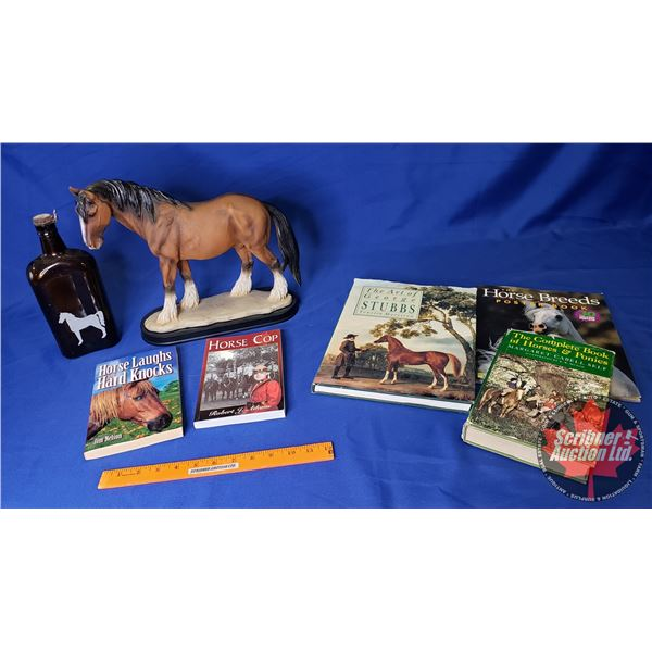 Tray Lot: Horse Theme (Incl. Statue, White Horse Bottle, Books) See Pics!