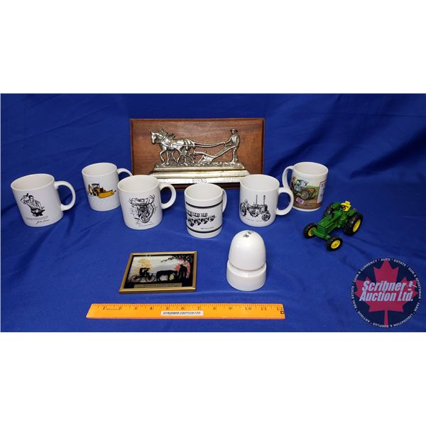 Tray Lot: Horse & Plow Plaque, John Deere 4020 Toy Tractor (1/64 Scale) & JD Mugs & CPR Insulator