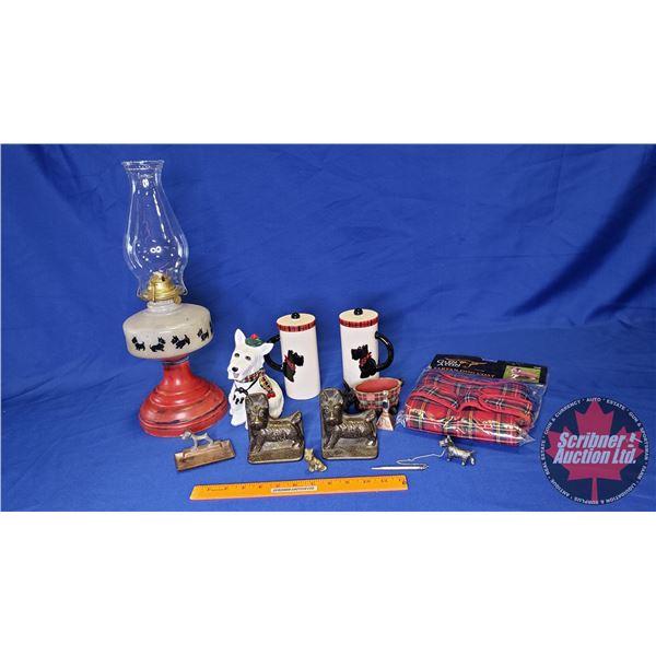 Box Lot: Scotty Dog Collection ! (Incl. Coal Oil Lamp, Cast Book Ends, Tartan Dog Coat, Ornaments, e