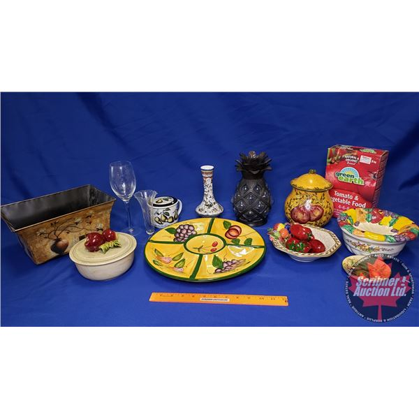 Tray Lot: Fruit Theme (Incl. Dishes, Mugs, Napkin Holders, Candle Holders, etc) See Pics!