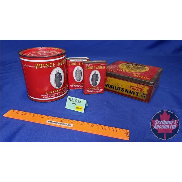 Tobacco Tins (4): Prince Albert & World's Navy (See Pics!)