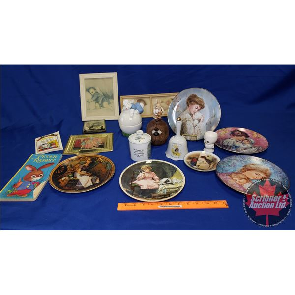 Box Lot: Children's Theme (Collector Plate, Peter Rabbit Collectibles, Framed Print, etc) See Pics !