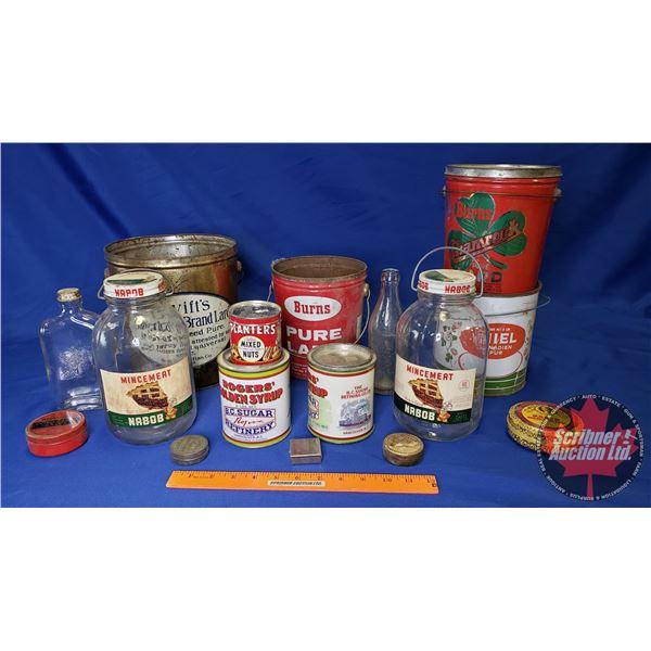 Tray Lot: Confectioner Tins & Bottles (Incl. Roger's Golden Syrup, Burn's Shamrock, Nabob, etc)
