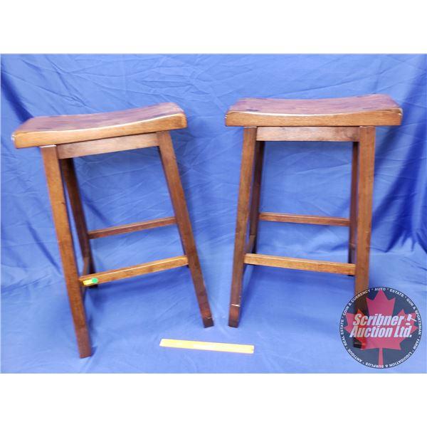 "2 Wooden Bar Stools (28-1/2""H)"