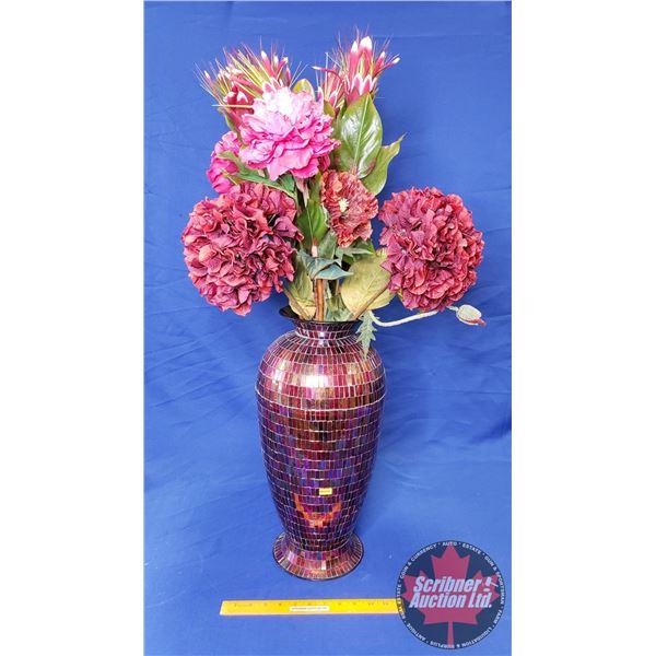 "Large Mosaic Vase with Silk Flowers (Vase 19""H)"