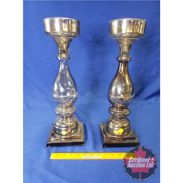 """Large Candelabras - Glass - Pedestal Base (2) (18-1/4""""H)"""