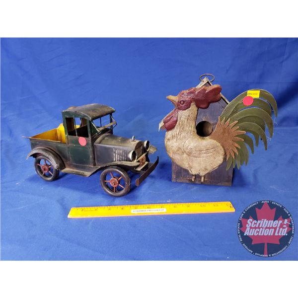 "Tin Home Décor Truck & Rooster Bird House (9""H)"