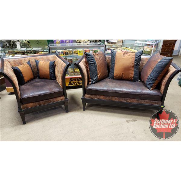 "FURNITURE SET (2 Pc) : Microfibre Distressed Chic Love Seat (35""H x 63""W x 30""D) & Chair (35""H x 39"""