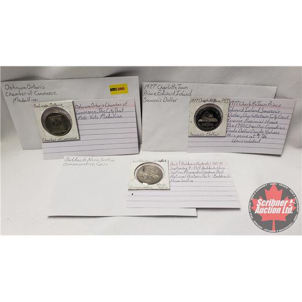 Tokens/Medallions (3): 1977 Charlottetown PEI ; Bell & Baldwins Baddeck Nova Scotia ; Oshawa Ontario