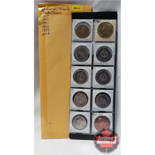 Wainwright Alberta Trade Dollars (10) : 1967; 1980; 1981 (4); 1982; 1983; 2008