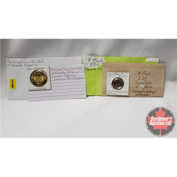 The Great Seal of the State of Nevada Medallion & X-Mark Casino Token