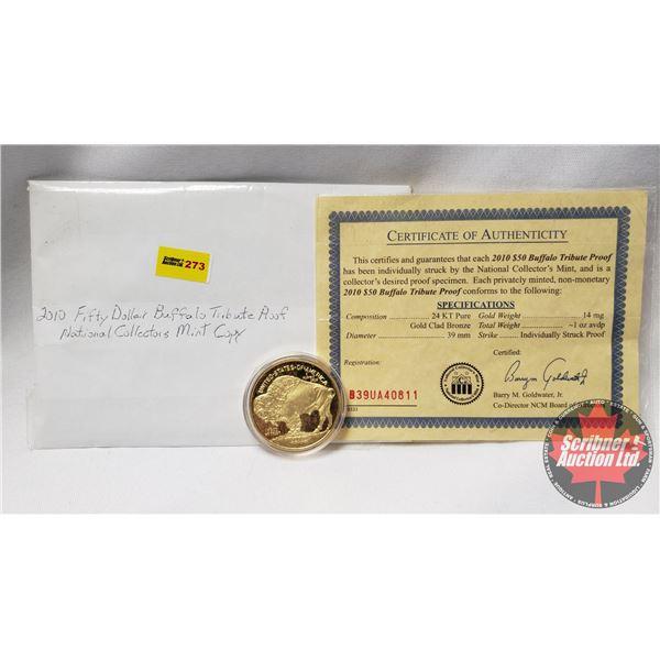 2010 Fifty Dollar Buffalo Tribute Proof Coin w/COA #B39UA40811