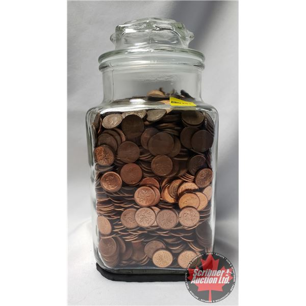 Large Jar of Canada Pennies - Variety ! Unknown Dates & Unknown Quantity !!! BULK BUY! (WEIGHS APPRO