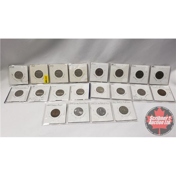 Canada Five Cent (20): 1928; 1929; 1930; 1931; 1932; 1933; 1934; 1935; 1936; 1937; 1938; 1939; 1940;