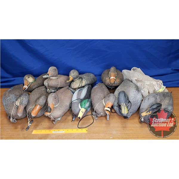 Mesh Bag w/Duck Decoys (11) w/Lead Weights