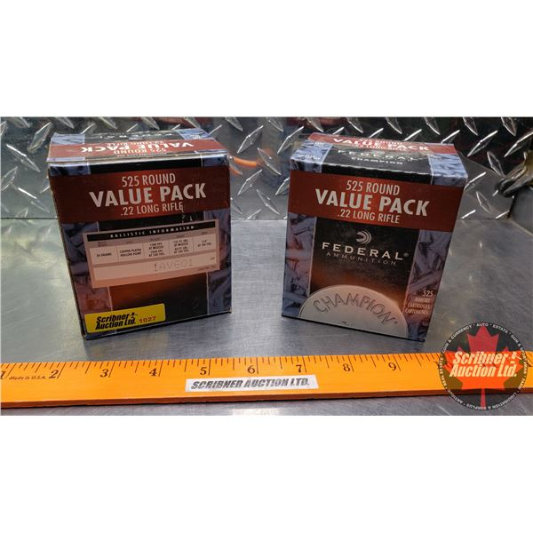 AMMO: Federal Champion 22LR - 36gr Hollow Point (2 Boxes of 525 = 1050 Rnds Total)
