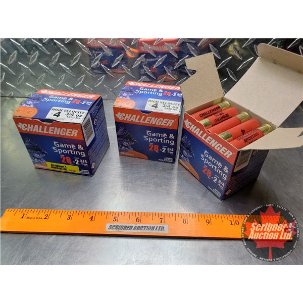 """AMMO: Challenger Game & Sporting 28ga (2-3/4"""") 3/4oz : 4 Shot (3 Boxes of 25 = 75 Rnds Total)"""