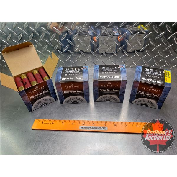 AMMO: Federal Heavy Field Load 28ga (2-3/4 ) 1oz : 6 Shot (4 Boxes of 25 = 100 Rnds Total)