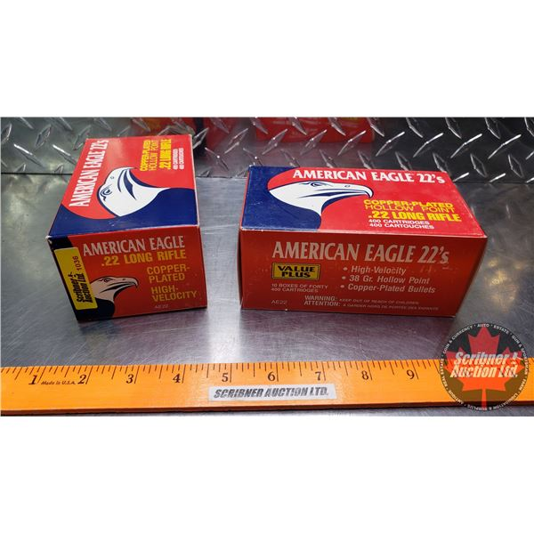AMMO: American Eagle 22LR - 38gr Hollow Point (20 Boxes of 40 = 800 Rnds Total)