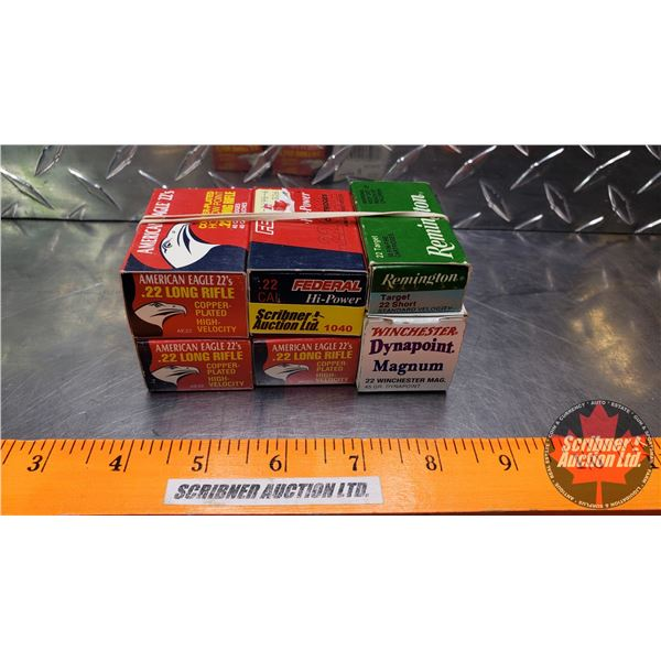 AMMO: Variety Pack of 22cal (Variety Brands) (6 Boxes = 260 Rnds Total)
