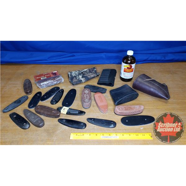 Mini Tote Lot: Variety of Recoil Pads, Bottle of Shooter's Choice Gun Cleaner 3/4 Full