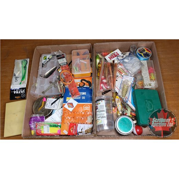 Tray Lot: Fishing Lures, Spoons, Crank Baits, Fishing Line, etc