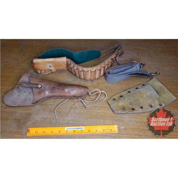 Tray Lot: Variety (Shotgun, Ammo Belt, Sling, Holster, Sheath) (See Pics)