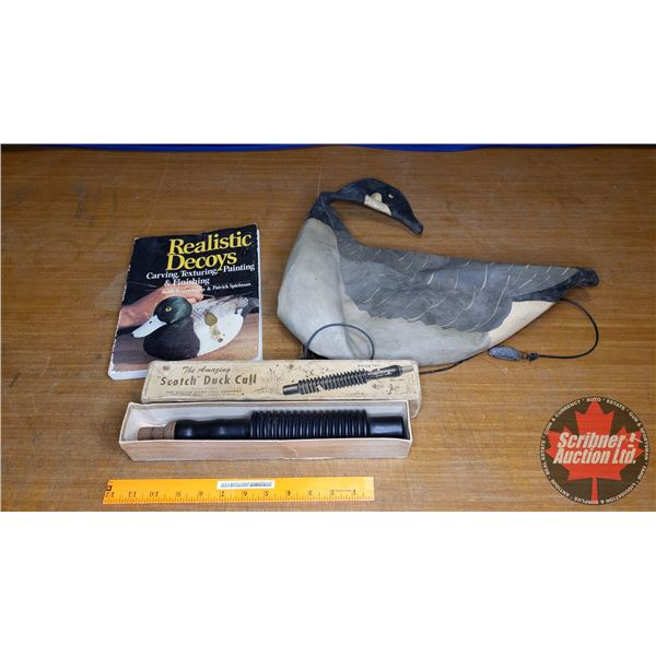 """Tray Lot: """"Scotch"""" Duck Call in Box; Realistic Decoys Book & Rubber Inflatable Goose Decoy"""