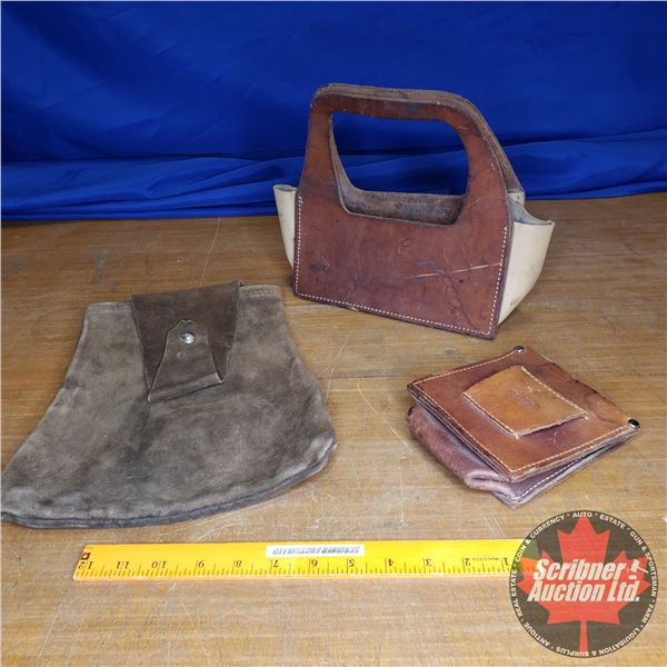 Tray Lot: Leather Shell Holders & Ammo/Shell Bag