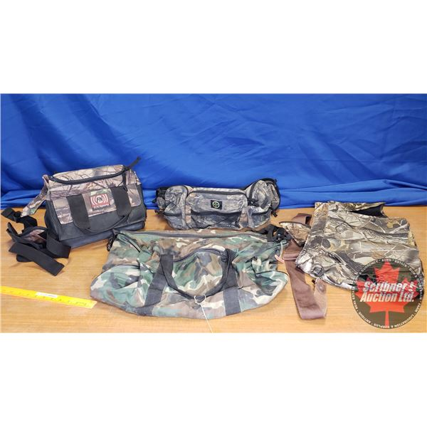 Tray Lot: F.N. Sports Insulated Bag, Hunter's Select Fanny Pack, Remington Field & Game Belt & Duffl