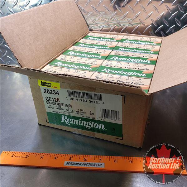"AMMO: Case Lot: Remington Gun Club Target Loads 12ga (2-3/4"") 1-1/8oz : 8 Shot (10 Boxes of 25 = 250"