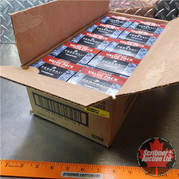 AMMO: Case Lot: Federal Champion .22LR (36gr Hollow Point) (10 Boxes of 525 = 5250 Rnds Total)