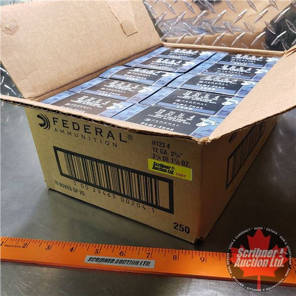 """AMMO: Case Lot: Federal Heavy Field Load 12ga (2-3/4"""") 1-1/8oz : 4 Shot (10 Boxes of 25 = 250 Rnds T"""