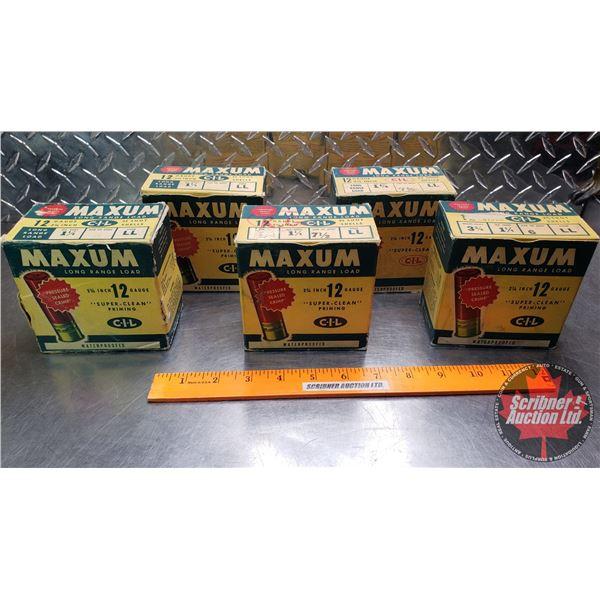 "AMMO: Vintage : CIL Maxum Long Range Load 12ga (2-3/4"") 1-1/4oz (50 Rnds of 5 Shot) & (25 Rnds of 6"