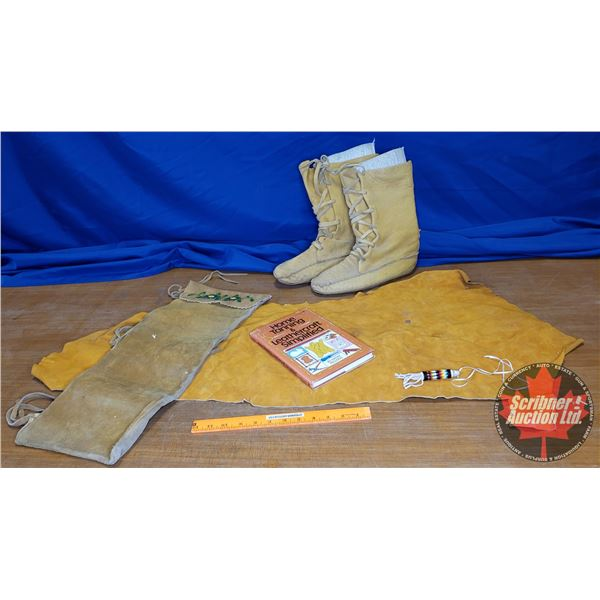 Tray Lot: Leather Mukluks with Liners, Beaded Charm, Leather Arrow Quiver, Leather Craft Book, Piece