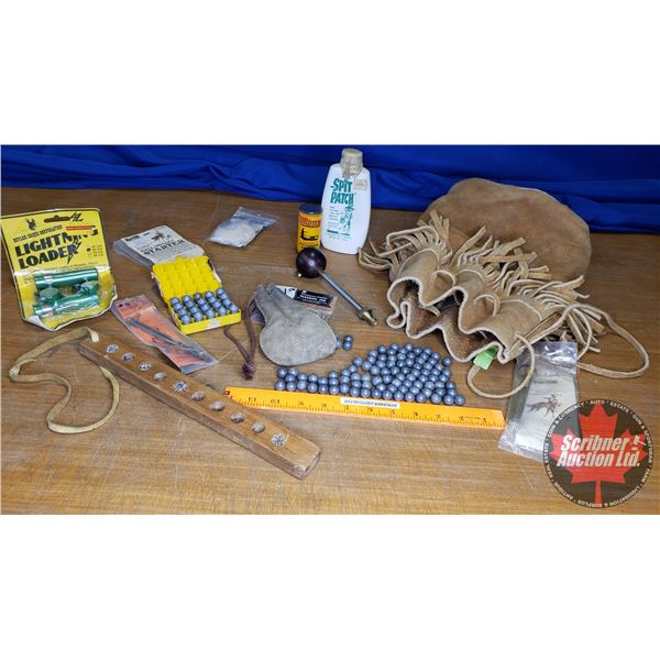 Leather Possibles Bag for Muzzle Loading (Incl: Powder, Measurer, Patches, Lead Balls, Wooden Loadin