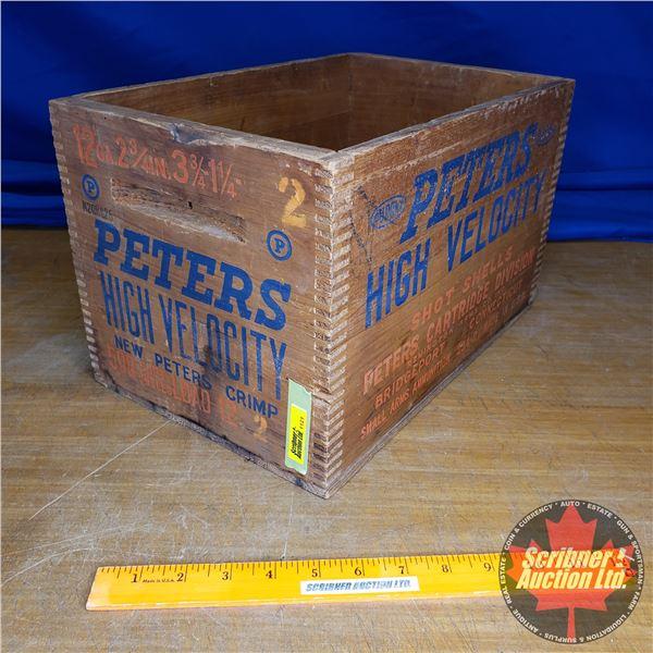 "Vintage Peters High Velocity Shot Shells Wooden Box (12ga) (9""H x 9-1/2""W x 14-1/2""D)"