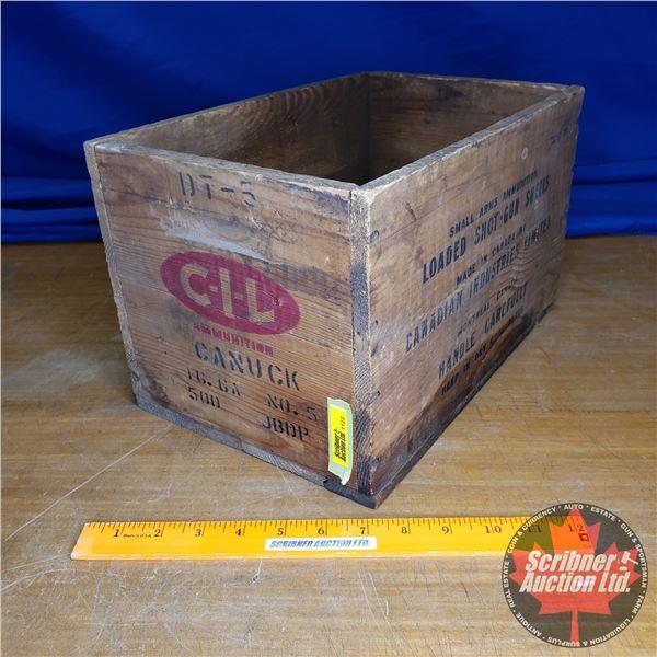 "Vintage CIL Shot Shells Wooden Box (16ga) (8-1/2""H x 9""W x 14""D)"