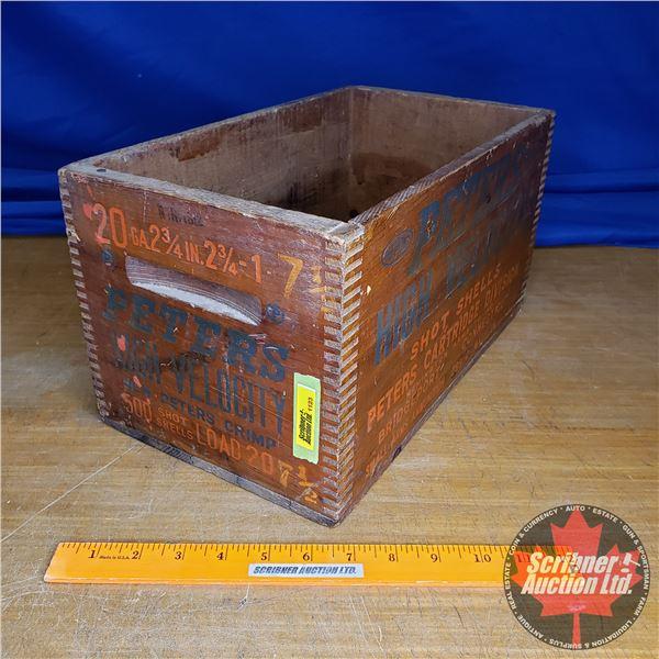 "Vintage Peters High Velocity Shot Shells Wooden Box (20ga) (8""H x 8-1/4""W x 14-1/2""D)"